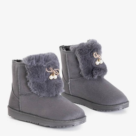 Women's dark gray snow boots with Iracema decorations - Footwear