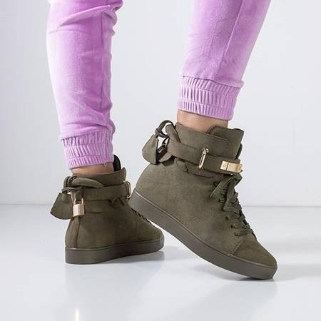 Women's dark green lace-up sneakers Pillar - Footwear