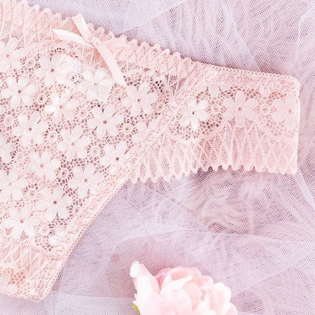 Women's light pink lace thong - Underwear