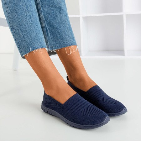 Women's navy blue slip-on sneakers Colorful - Footwear