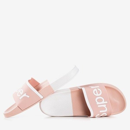 Women's pink slippers with Supera inscription - Footwear
