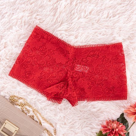 Women's red lace boxer shorts - Underwear