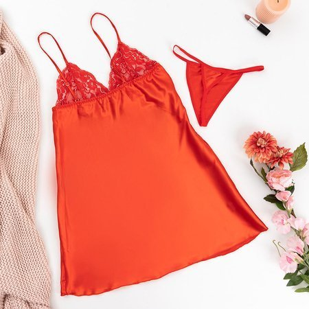 Women's red lace nightdress with thongs - Belizna