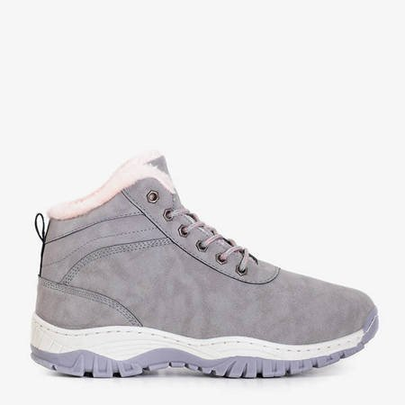 Women's warm boots in gray Leya - Footwear