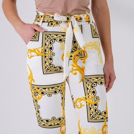Women's white pants with print - Clothing