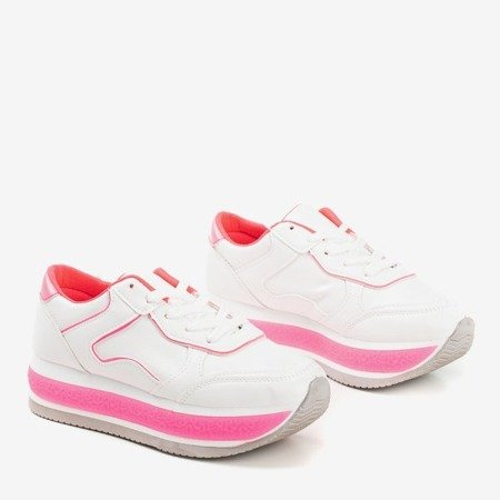 Women's white sports shoes on a thick platform with Savss neon inserts - Footwear