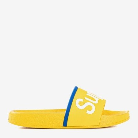 Yellow children's slippers with Super inscription - Footwear