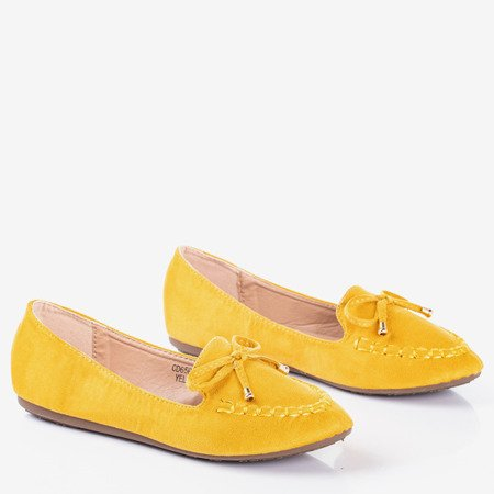 Yellow loafers with Petronella bow - Footwear 1