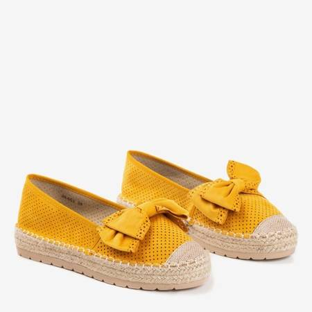 Yellow openwork espadrilles on the platform with a bow Mimilla - Footwear