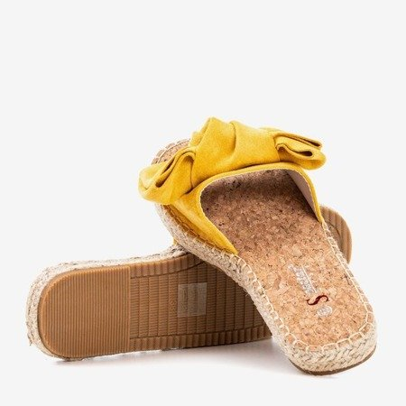 Yellow slippers with a Playa bow - Footwear
