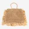 Brown square straw women's shoulder bag - Handbags 1