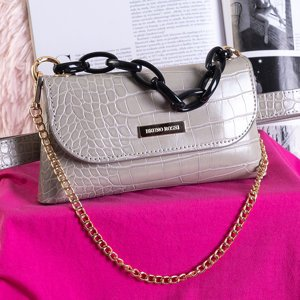 Gray small waist bag a'la snake skin - Handbags
