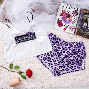 Ladies' purple pajamas with a leopard print - Clothing