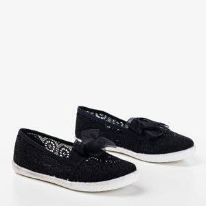 OUTLET Girls' black openwork slip - on with a bow Farima - Footwear