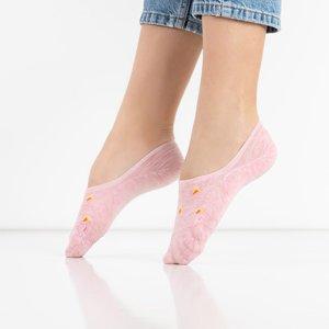 Pink women's socks with patterns - Underwear