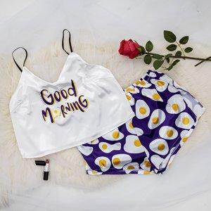 Purple women's pajamas with print - Clothing