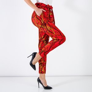 Red women's trousers with print - Clothing