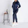 Warm navy blue women's sweatshirt set with stripes - Clothing