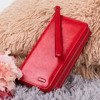Women's red wallet with a double zipper - Wallet